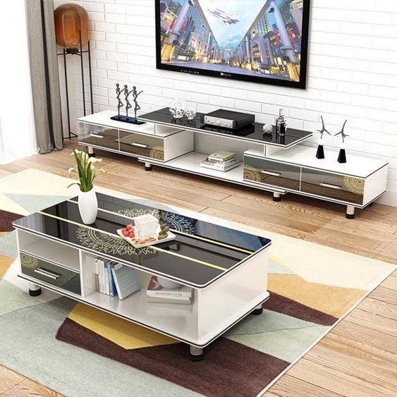 電視櫃 茶幾組合小戶型現代簡約客廳家具套裝鋼化玻璃電視機櫃地櫃【快速出貨】 1