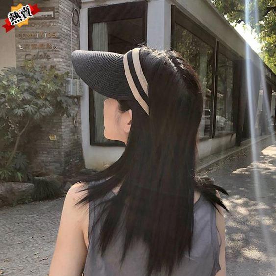 帽子 女夏天草帽遮臉韓版潮空頂帽防曬太陽帽百搭沙灘遮陽帽時尚 2