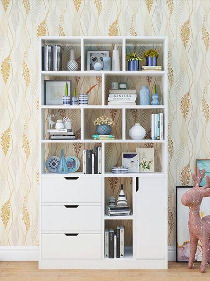 書架 書柜簡約落地置物架客廳儲物臥室收納學生家用簡易帶門小柜子【快速出貨】 0