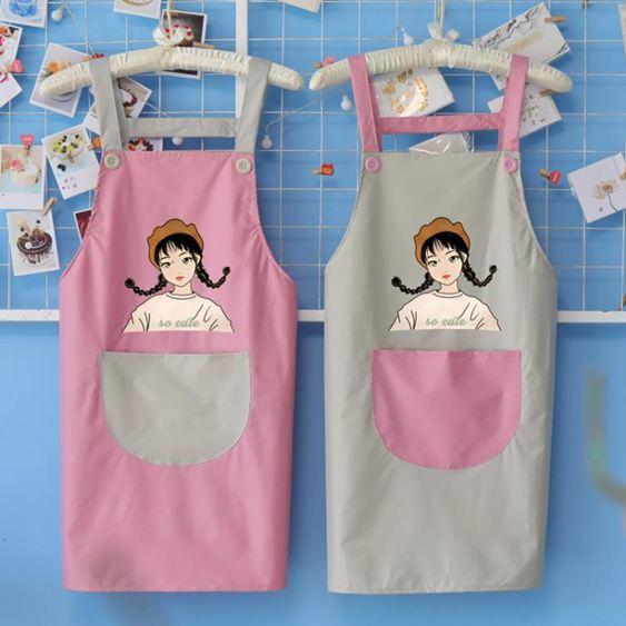 圍裙 創意個性防水防油家用圍裙廚房女時尚做飯大人工作服定制LOGO印字 0