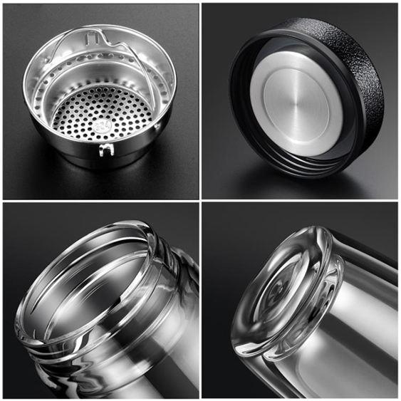 水杯 夏季雙層玻璃男商務過濾水杯泡茶杯便攜加厚透明喝水杯子 3