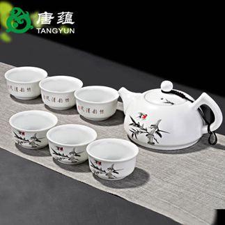 茶具 陶瓷定窯功夫茶具家用茶壺杯蓋碗套裝簡約現代泡茶景德鎮白瓷 1