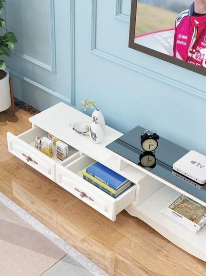 電視櫃 茶幾組合套裝簡約現代小戶型鋼化玻璃客廳實木色電視機地櫃【快速出貨】 3