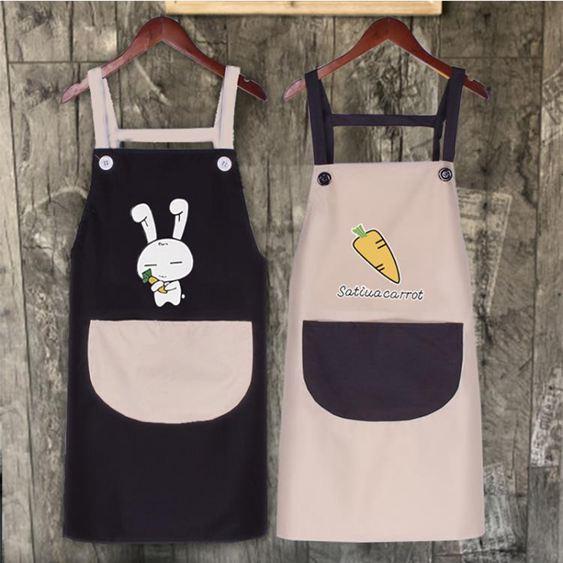 圍裙 家用廚房女韓版時尚防水防油成人可愛做飯罩衣工作服LOGO印字 0
