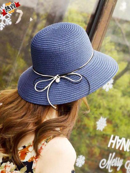 帽子 夏帽子女韓版潮草帽簡約百搭遮陽防曬漁夫帽日系手工可折疊沙灘帽 3