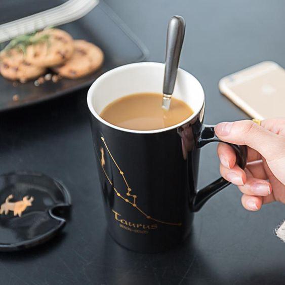 馬克杯 創意個性杯子陶瓷馬克杯帶蓋勺潮流情侶喝水杯家用咖啡杯男女茶杯 3