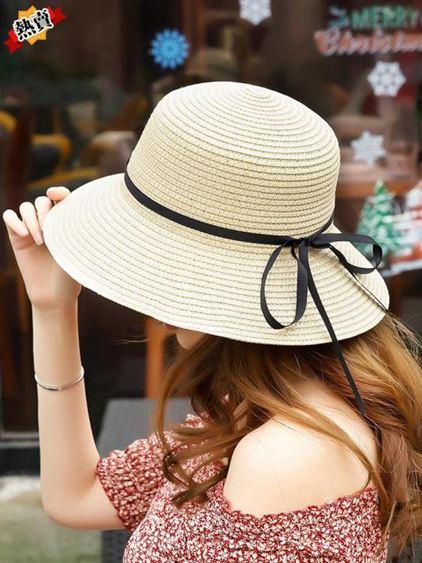 帽子 夏帽子女韓版潮草帽簡約百搭遮陽防曬漁夫帽日系手工可折疊沙灘帽 2