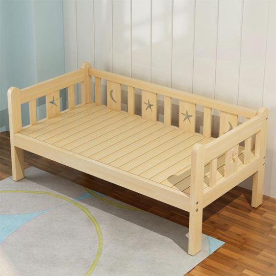 實木兒童床男孩單人床女孩公主寶寶小床拼接大床加寬兒童床帶【快速出貨】 0