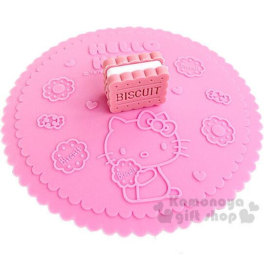 〔小禮堂〕Hello Kitty 造型矽膠杯蓋《粉.夾心餅乾.坐姿.糖果》可愛又實用