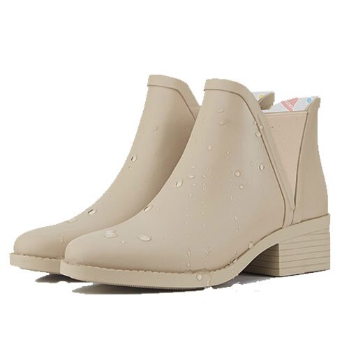 LINAGI里奈子【S692189】韓國代購短筒橡膠雨鞋女成人啞光歐美防滑切爾西雨靴 8