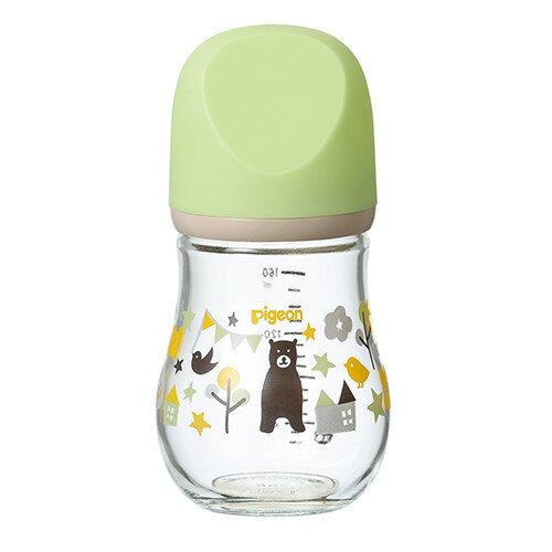 貝親 Pigeon 設計款母乳實感玻璃奶瓶160ml(熊/綠)P00372★愛兒麗婦幼用品★