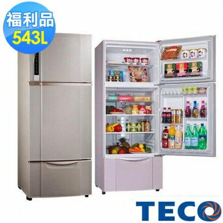 【福利品】TECO東元543L變頻三門冰箱(R5651VXSP)