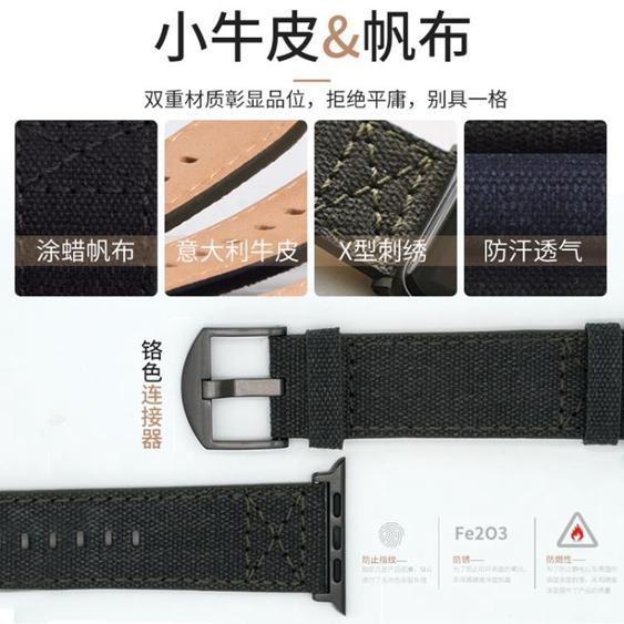 【免運】SLG Design apple watch蘋果手錶帶真皮潮iwatch3/4帆布錶帶42/44 小宅女  喜迎新春 全館8.5折起