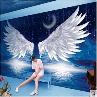 【免運】北歐風墻紙壁畫天使的翅膀直播間照相館吧臺3d5d科技館背景墻壁紙 陽光好物  喜迎新春 全館8.5折起