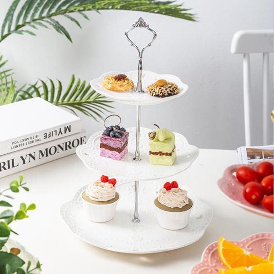 【免運】陶瓷水果盤歐式三層點心盤蛋糕盤多層糕點盤客廳創意糖果托盤架子 茱莉亞  喜迎新春 全館8.5折起