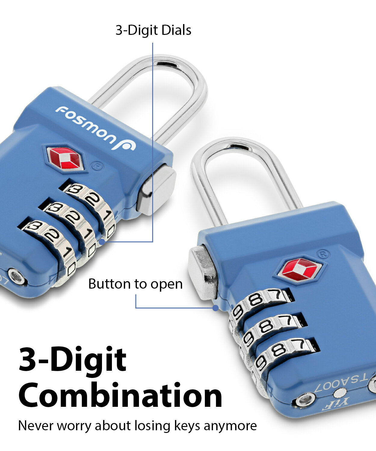 Fosmon Open Alert Indicator TSA Approved 3 Digit Combination Luggage Lock -  Black, Blue, Pink, and Silver - 4 Pack