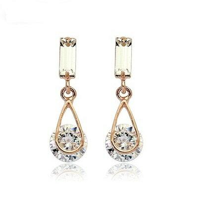 ~925純銀耳環鑲鑽耳飾~ 獨特大方母親節生日情人節 女飾品2色73gt78~ ~~米蘭