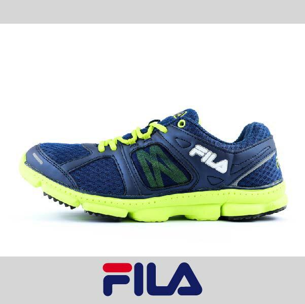萬特戶外運動 FILA 1-J303P-360 男款運動慢跑鞋 輕量舒適 透氣 藍/螢光色