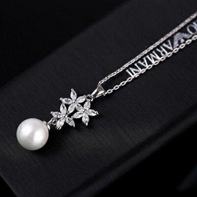 ~純銀項鍊 鍍白金珍珠吊墜~ 復古簡單七夕情人節 女飾品73dn18~ ~~米蘭 ~