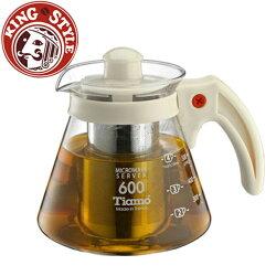 金時代書香咖啡 Tiamo 不鏽鋼濾網 玻璃花茶壺600cc 白色 HG2216W