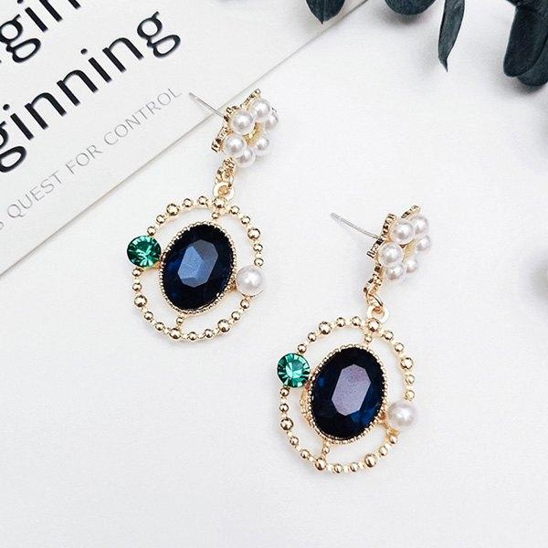 耳環鍊條珍珠彩鑽寶石宮廷風個性耳釘耳環【DD1804203】BOBI0524