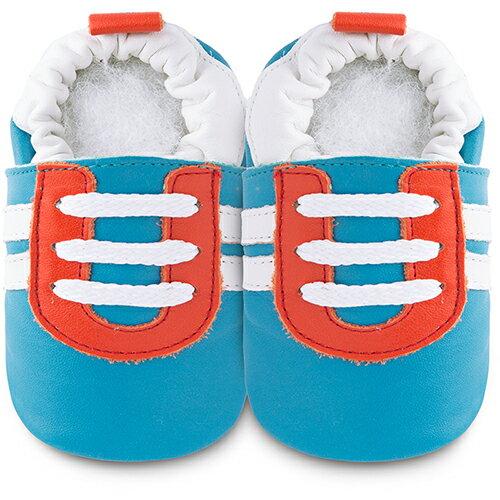 【HELLA 媽咪寶貝】英國 shooshoos 安全無毒真皮手工鞋/學步鞋/嬰兒鞋_藍底/紅白運動型_102064 (公司貨)