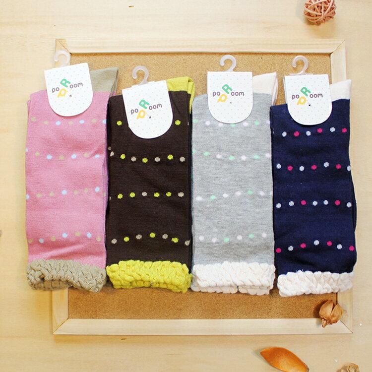 襪子 古著復古 氣質 SEIO  獨特圖型 簡約百搭 可愛低調撞色小點點 襪子 ^(4色^