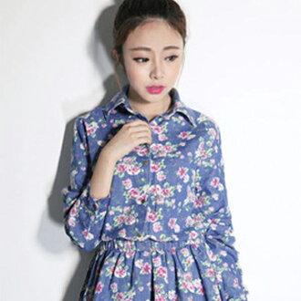 PS Mall 韓版 碎花連身洋裝 復古短裙 收腰顯瘦長袖牛仔裙【T3299】