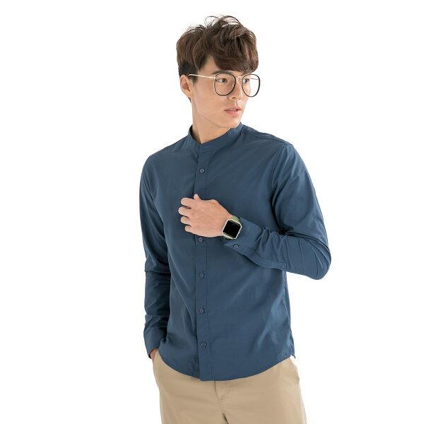 VEPRISTY:合身快乾文藝立領襯衫(午夜藍)