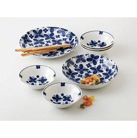 日本美濃燒 藍花蝶餐碗盤七件組