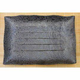 【福介生活館】日本陶瓷【萬古燒】油滴天目 34x24cm大方盤~手工陶土~和風宴客餐盤~日本製~