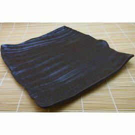 【福介生活館】日本陶瓷【萬古燒】深棕色石紋方盤~手工陶土~和風懷石餐盤~日本製~陶盤 微波餐盤