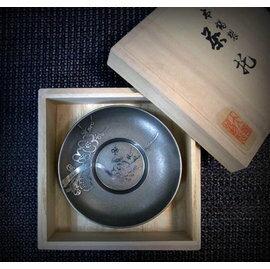~福介 館~ 大阪錫器 乾茂號造~丸形茶托 圓杯墊 5件組~^~松竹梅菊蘭 茶具 錫壺銀壺