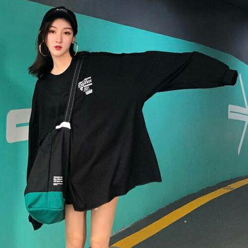 PS Mall BF風字母寬鬆上衣 圓領長袖休閒T恤【T711】 1