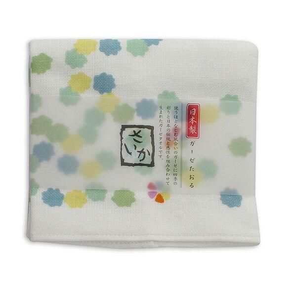 AKACHAN阿卡將雙層(紗布+毛巾)厚質手帕-花糖(綠)