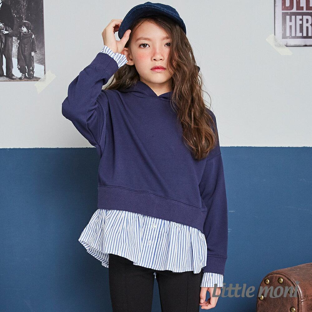 Little moni 連帽假兩件造型上衣 -深藍(好窩生活節) 1