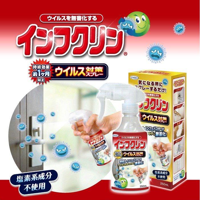 UYEKI Infukurin 抗病毒抗細菌噴霧250ml,防疫/抗菌/抗菌噴霧/隨身消毒噴霧/乾洗手噴霧,X射線【C007772】