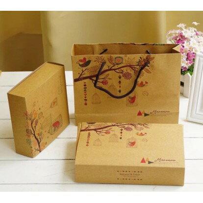 【嚴選SHOP】鳥語花香 4粒6粒裝牛皮月餅盒 紙袋 復古牛皮紙 月餅盒 蛋黃酥包裝盒 高檔禮盒餅乾盒【C063】