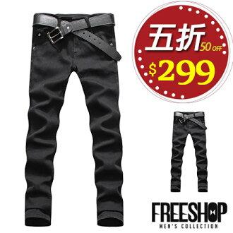 牛仔褲 Free Shop【AFS04】街頭型男極簡素色百搭彈性彈力小直筒單寧牛仔褲牛仔長褲 全黑色
