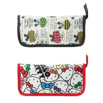 三麗鷗 Hello Kitty 凱蒂貓 迪士尼 Mickey Mouse 米奇 餐具收納包 不織布 外出攜帶方便 野餐 日本進口正版 253263 251641
