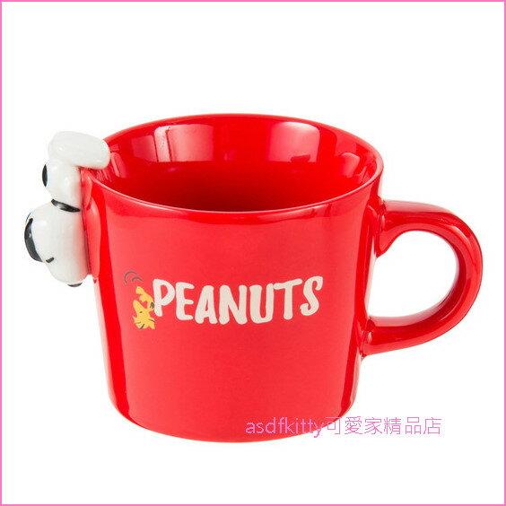 asdfkitty可愛家☆SNOOPY史努比紅色倒掛杯緣子陶瓷馬克杯-310ML-日本正版商品