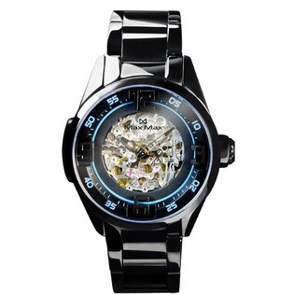 MaxMaxMAS7005AT-2鏤空機械錶-黑藍44mm