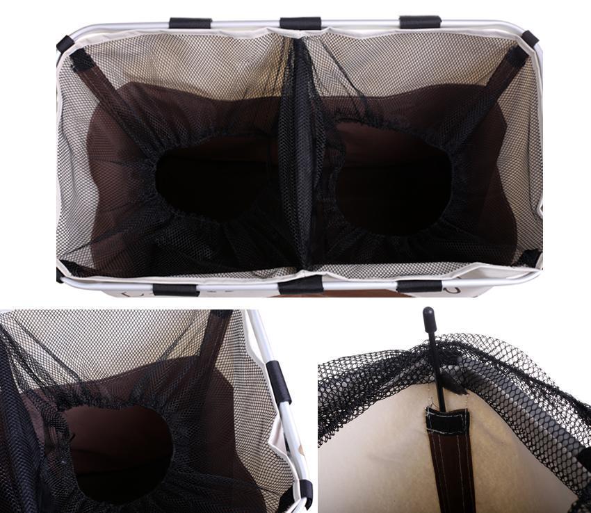 Foldable 2 Sections Laundry Basket Double Washing Storage 3