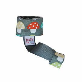 美國 Loopy Gear 寶寶抓緊緊 安撫玩具手腕帶- 深灰彩蘑菇【紫貝殼】