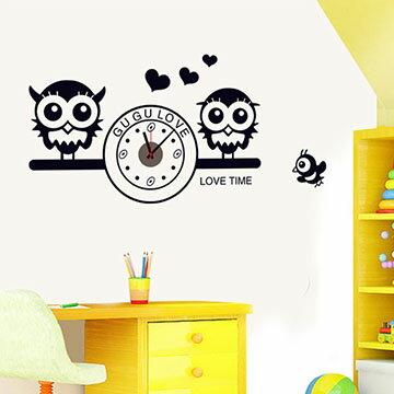 WallFree窩自在 韓版-新款DIY創意壁貼時鐘 SA-1-010愛戀貓頭鷹(附靜音機芯)