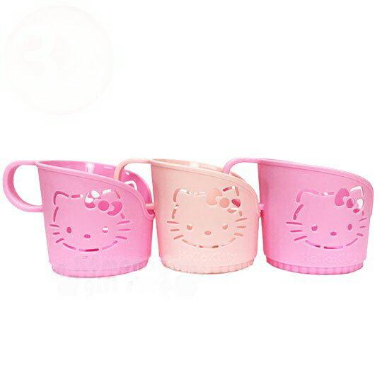 【領券折$30】小禮堂 Hello Kitty 環保杯架《3入.粉.鏤空大臉》銅板小物