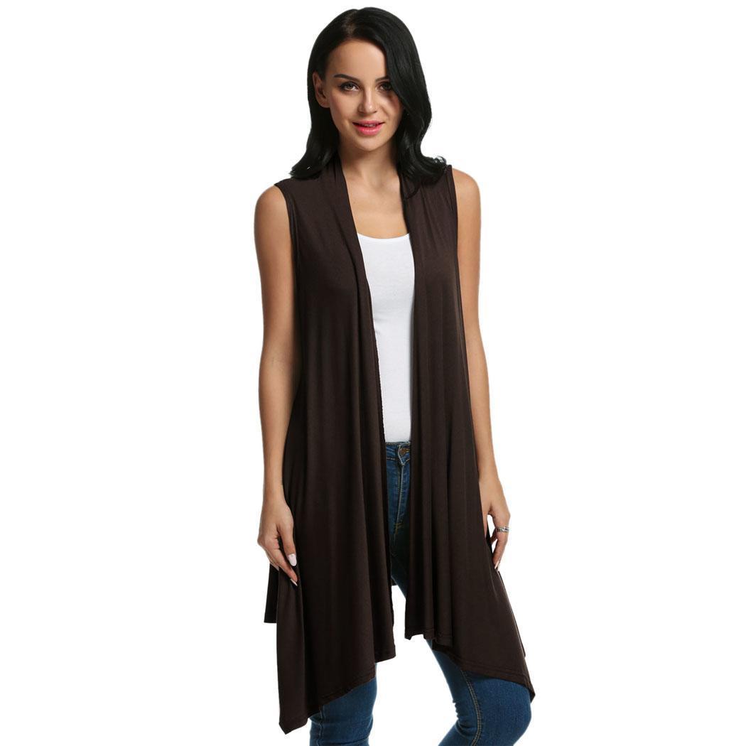 Women Sleeveless Asymmetrical Hem Open Front Casual Long Cardigan 3