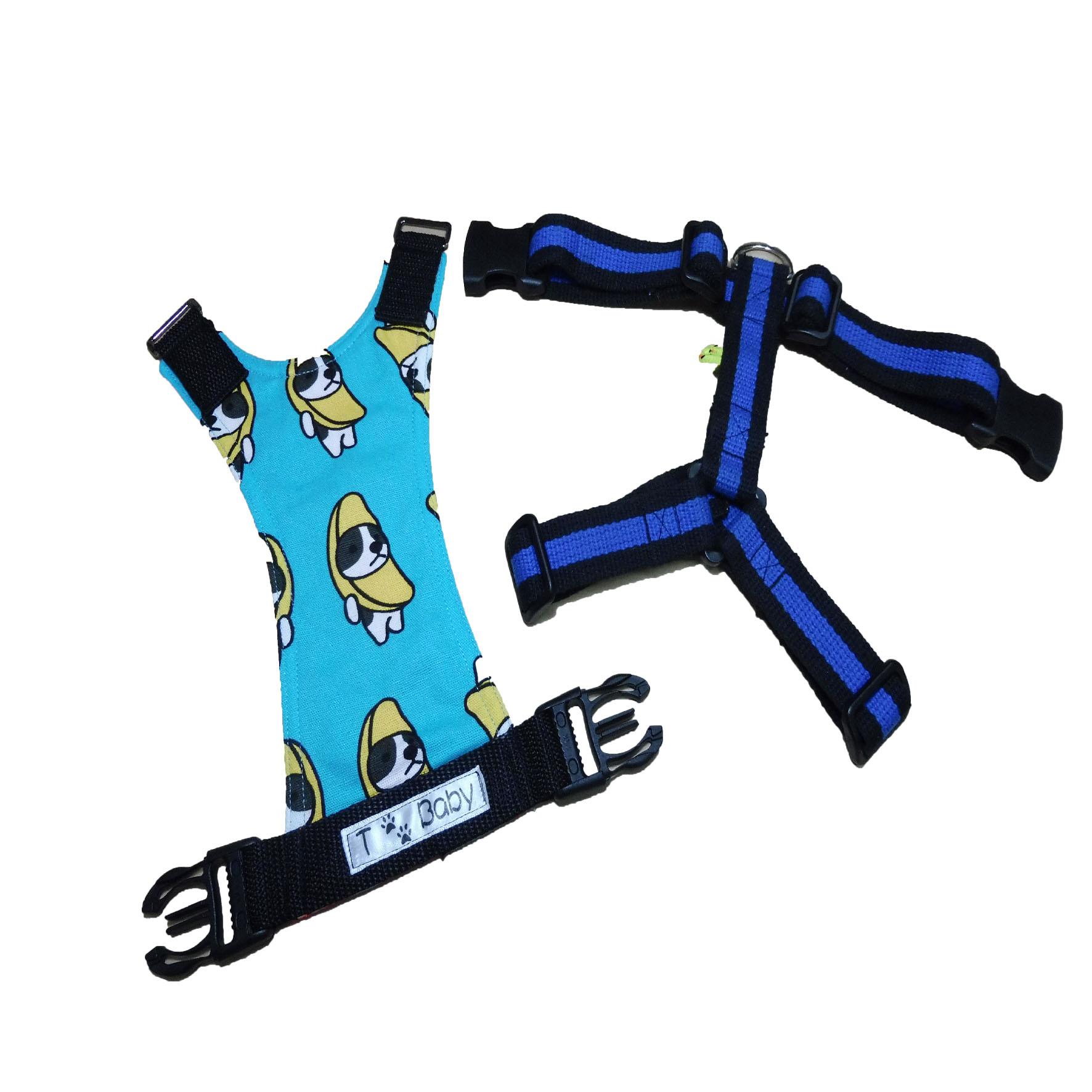 ◇T-Baby◇ 香蕉狗套組胸背帶(藍)