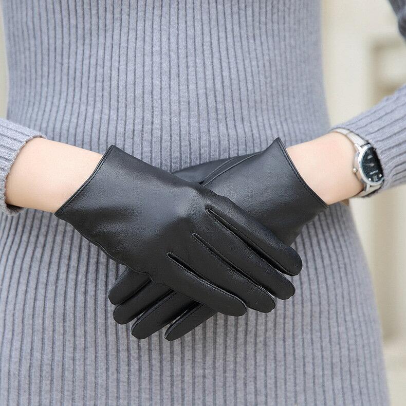 觸控手套真皮手套-黑色簡約山羊皮加絨女手套73wm54【獨家進口】【米蘭精品】 0