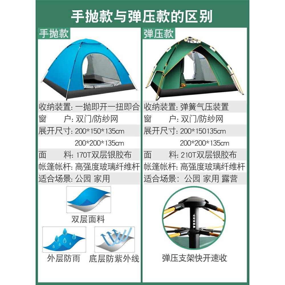 【耐用10年】野外帳篷戶外野餐沙灘郊遊野營露營加厚防雨防暴雨全自動速開兒童